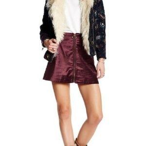 Free People Velvet Front Zip A- Line Mini Skirt